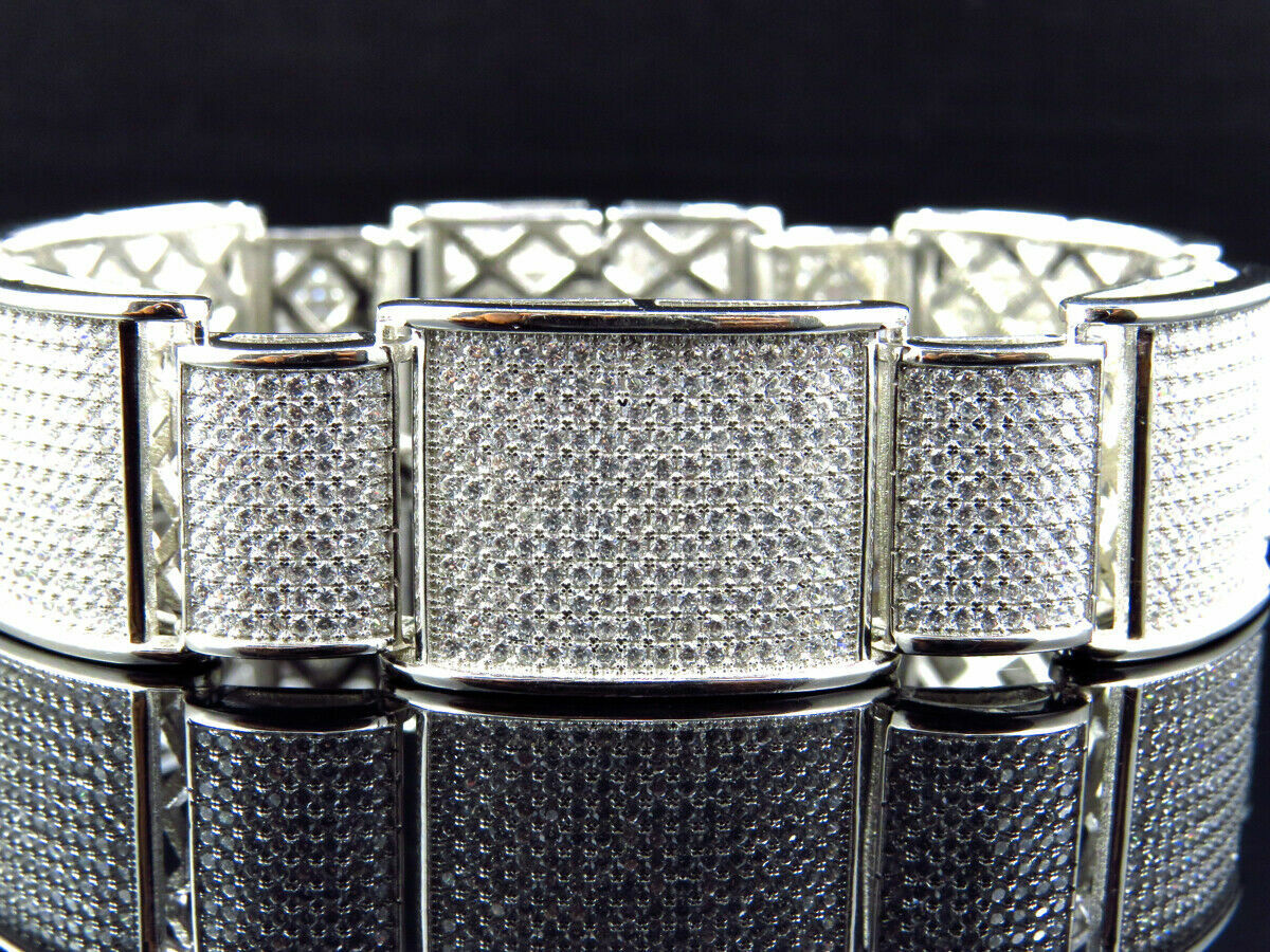 15Ct Round Cut Diamond 14K White Gold Over Men's Exclusive Link Bracelet 3