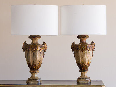 Pair of Classical Motif Vintage Italian Ceramic Urn Lamps, Italy circa 1930