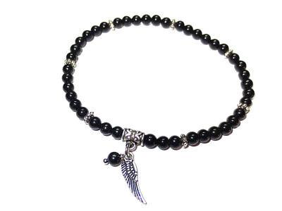 Armband Edelstein-Perlen Turmalin Schwarz 4mm Engelflügel mit Perle Handarbeit  (Engel Mit Schwarzen Flügeln)