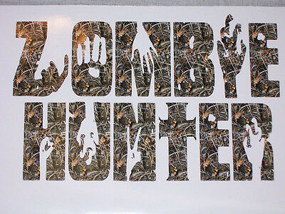 Zombie Hunter Real Tree M4 Camo Vinyl Decal Sticker Skull Black Ops Jeep Decals