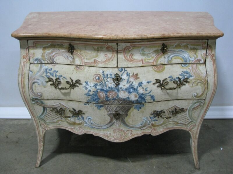 Dramatic Vintage Italian Made Painted Rococo Bombe Chest With Marble Top