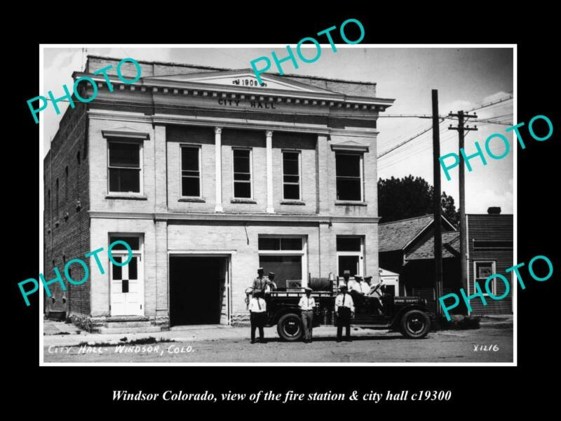 OLD POSTCARD SIZE PHOTO OF WINDSOR COLORADO THE FIRE DEPARTMENT STATION c1930