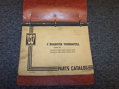 Letourneau Westinghouse C Roadster Tournapull Scraper Parts Catalog Manual