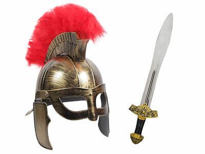 Gladiator Krieger Kostüm (Kv-153) Römer Helm und Ritterschwert, Länge 56 cm (Gladiator Helm Kostüm)