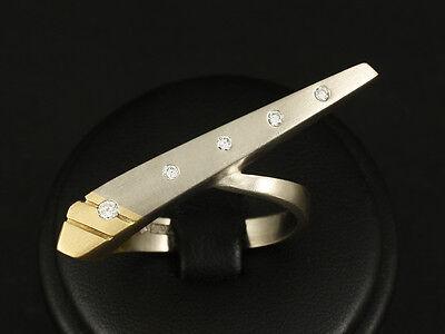 Extravaganter Brillant Zweifinger Ring  Große Ringweite 64 13,8g 750/- Weißgold