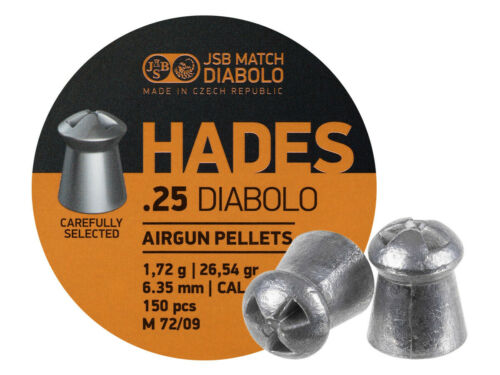 JSB Match Diabolo Hades, .25 Cal, 26.54gr, Pointed 150 ct
