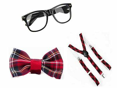 SCHOOL GIRLS RED TARTAN NERD GEEK GLASSES BOW TIE SQUAD SET FANCY DRESS COSTUME