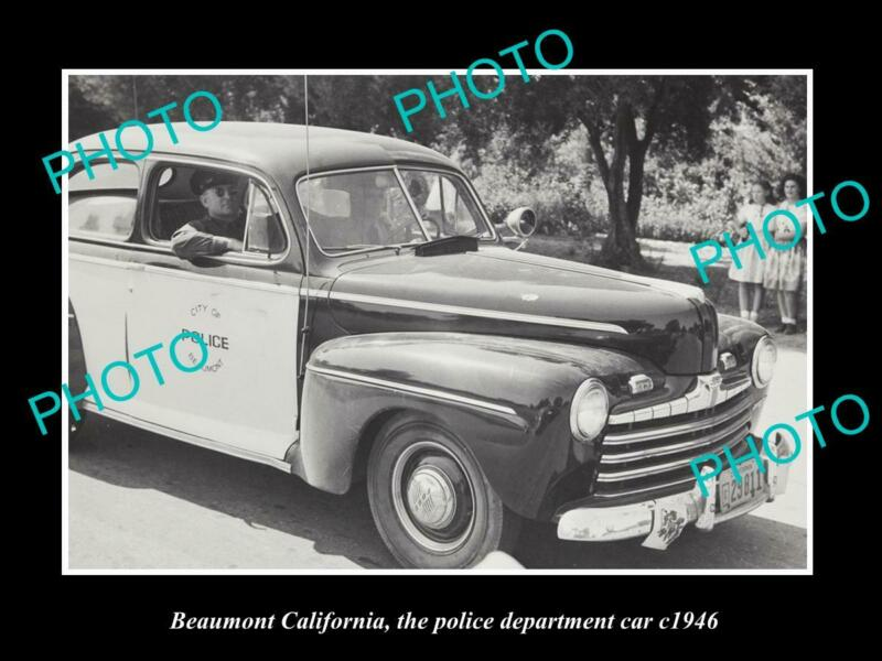 OLD 8x6 HISTORIC PHOTO OF BEAUMONT CALIFORNIA THE POLICE DEPARTMENT CAR c1946