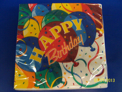 - Birthday Bash Bright Colors Happy Balloons Party Supplies Paper Beverage Napkins