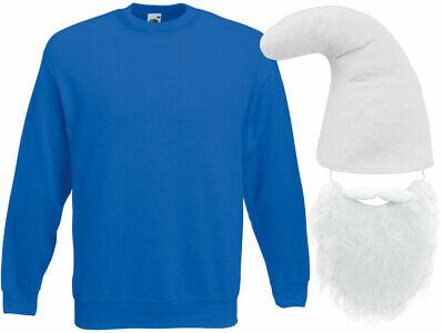 Schlumpf Kostüm Zwergen (Kv-140) blauer Pullover weiße Zwergenmütze und Bart - Blaue Und Weiße Kostüm