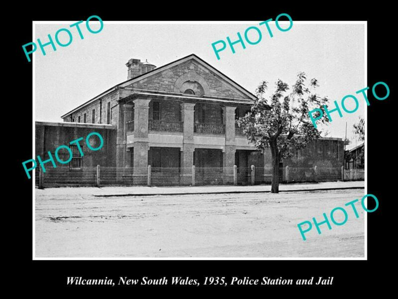 OLD 8x6 HISTORICAL PHOTO OF WILCANNIA NSW VIEW OF POLICE STATION & JAIL 1935