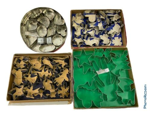 Lot Of Vintage Metal Cookie Cutters Angel Bunny Shapes Tree Original Containers