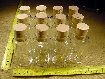 12 Stück 30 ml Klar- Glasflasche mit Korkstopfen Flaschen  für Globuli weithals
