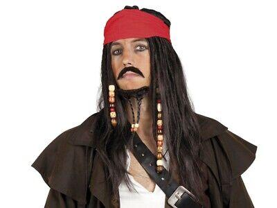 Kostüm Karneval Langhaar-Perücke Pirat Sparrow Karibik Fasching Party JGA - Sparrow Kostüm