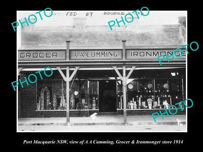 OLD POSTCARD SIZE PHOTO OF PORT MACQUARIE NSW CUMMINGS MERCHANT STORE (Macquarie Stores)