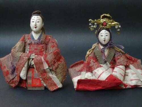 2 Antique NINGYO Japanese Imperial Court Doll Princess HINA Crown GEISHA Empress