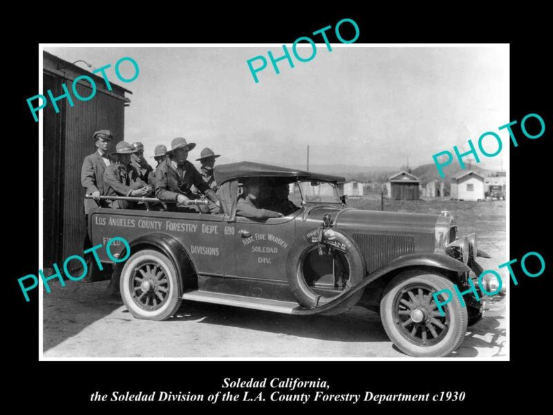 OLD LARGE HISTORIC PHOTO OF SOLEDAD CALIFORNIA THE FIRE DEPARTMENT TRUCK c1930