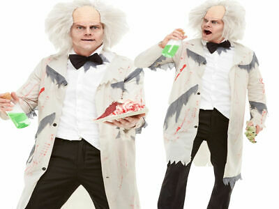 Mad Scientist Costume Adults Halloween Mad Doctor Fancy Dress Outfit + Wig