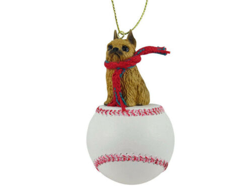 Brussels Griffon Dog Red Baseball Sports Figurine Ornament