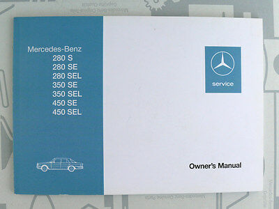 Mercedes W116 280S to 450SEL Owner's Manual English reprint 1986 NOS!