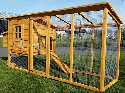 LARGE 8FT CHICKEN COOP HEN POULTRY ARK HOUSE HUTCH RUN NEST NEW 4000