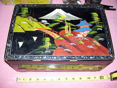 Vintage Black Lacquer Asian Jewelry Box Musical Too