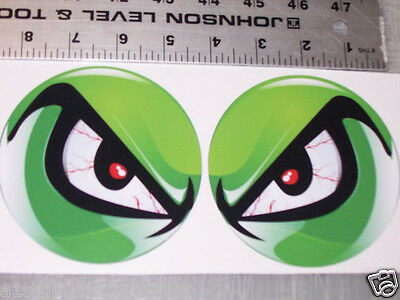 GREEN NO FEAR EYES VINYL DECAL PAIR SHOTGUN AIR INTAKE HOOD Eye BUG CATCHER