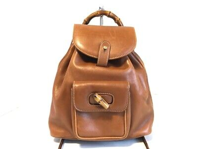 Auth GUCCI Bamboo Brown Leather Backpack