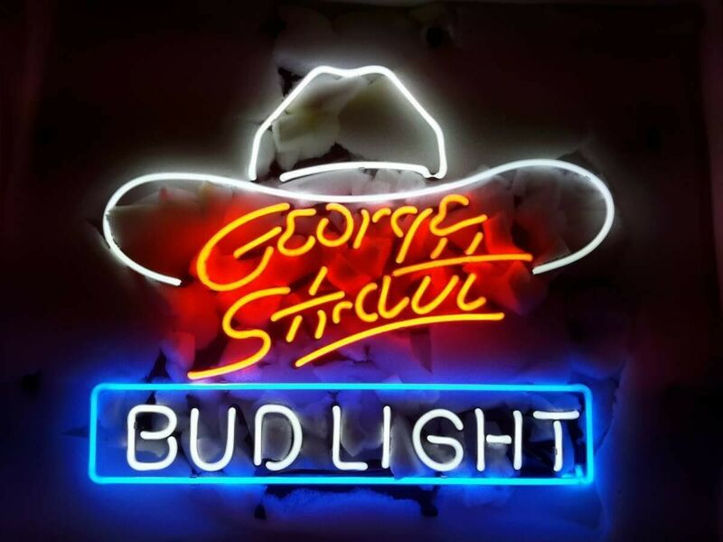"New Bud-Light George Strait Hat Light Beer Bar Neon Sign 20""x16"" Decor"