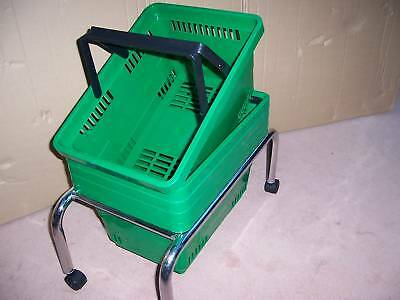 Pack of 5 Plastic Shopping Baskets & Mobile Stand