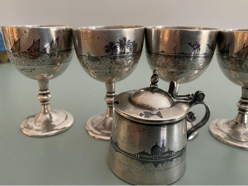 Antique Iraqi silver niello Set