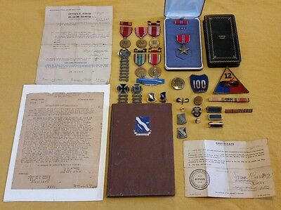 WWII Medal Ribbon Pin Collection Bronze Star Named Purple Heart Box Engraved