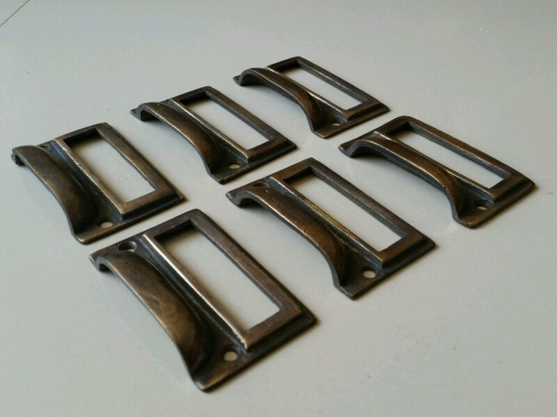 """6 tarnished brass File Apothecary drawer pull Handles 2 3/4""""w. Label holders #F1"""