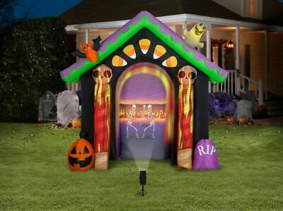 Gemmy 8.7-ft x Haunted House Arch w/ projector Halloween Inflatable