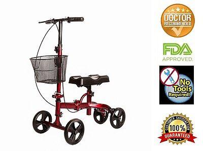 Knee Scooter Steerable W/handle Brake,Basket,Crutch Alternat