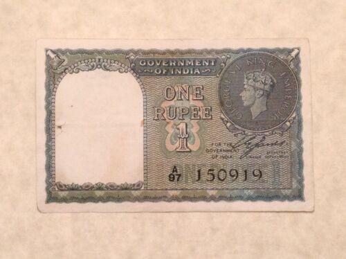 - British India One Rupee 1940 Banknote George VI P 25a