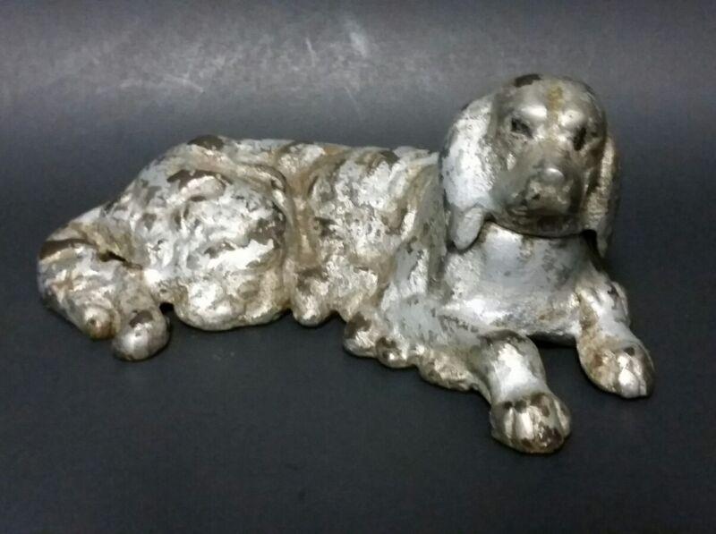 ANTIQUE SILVER NICKEL PAINT  CAST IRON  SPANIEL DOG FIGURINE PAPERWEIGHT 1900s