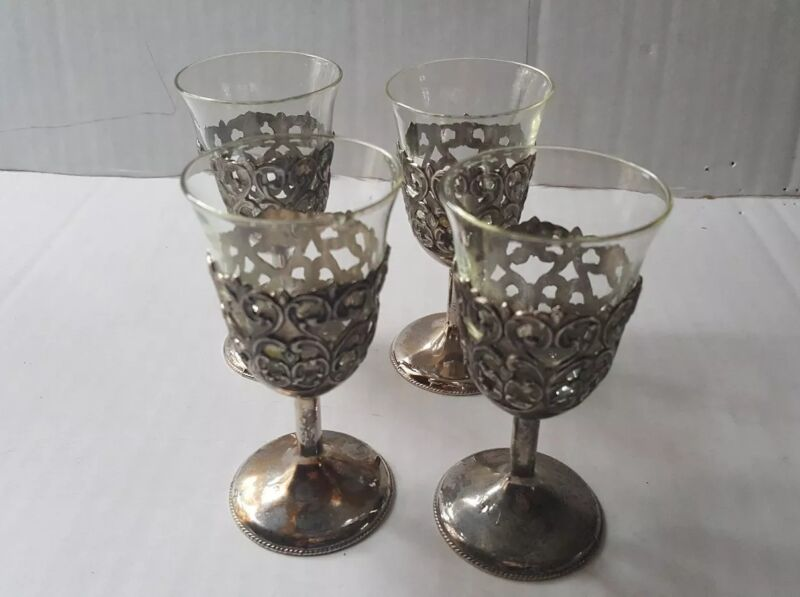 Antique Silver Cordial Stems w/ Glass Liner-Inserts - Set of 4