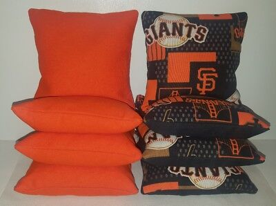 (SET OF 8 ALL WEATHER SAN FRANCISCO GIANTS CORNHOLE BEAN BAGS FREE SHIPPING )