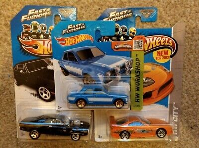 Hot Wheels 3 Car Fast and Furious Set Dodge Charger, Ford Escort & Toyota Supra