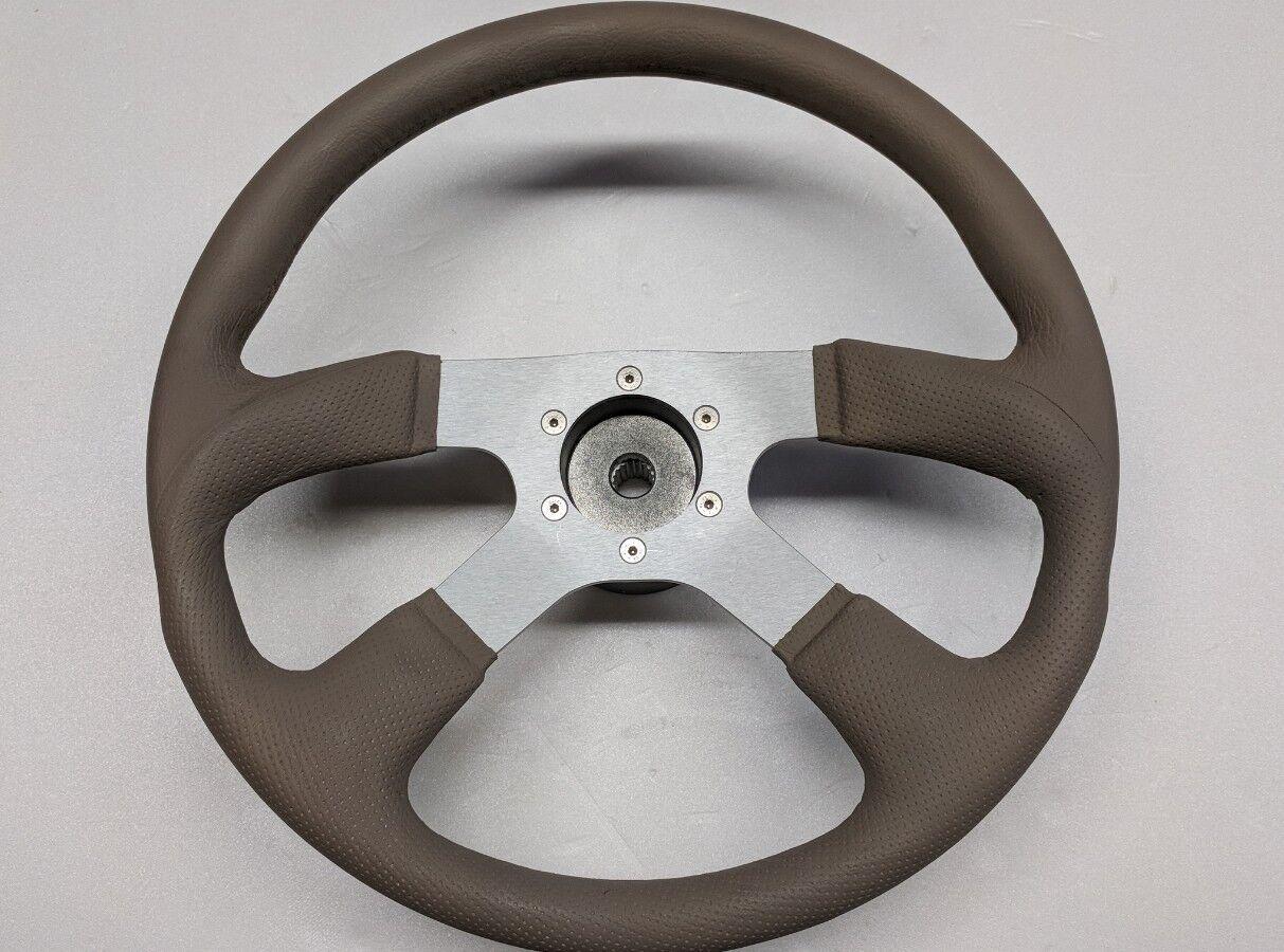 """WELLCRAFT TAN Faux Leather Wrapped 14"""" Marine Grade Steering Wheel spline hub"""