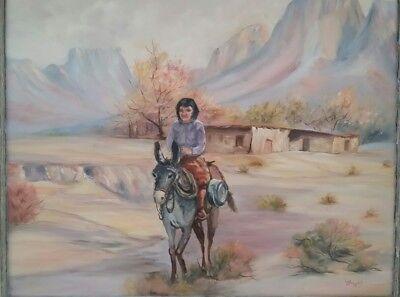"""Colorful Vintage Folk Art Western Landscape Painting """"Ossie Lee Pehy Arledge""""!"""