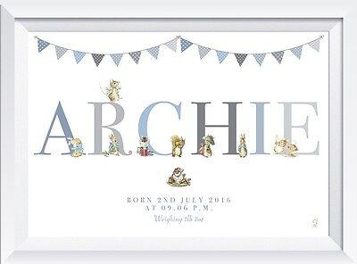 Personalised Peter Rabbit baby name nursery birth print gift christening boy