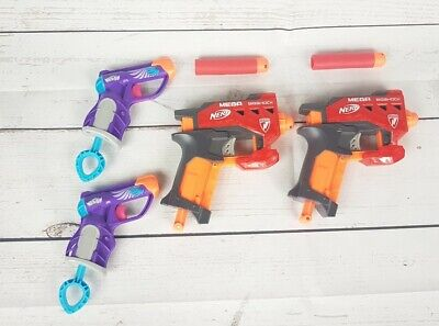 Lot of 4 NERF N-Strike Soft Dart Guns Mega Bigshock And 2 Nerf Rebelle Blasters