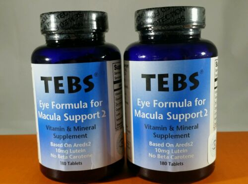 2 Bottles TEBS Macular Degenaration Support Eye Vitamins AREDS 2- 6 Month Supply