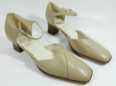 Clarks cushion soft womens cream leather mid heel slingbacks UK 6 Eu 39 Mid-heel-slingbacks