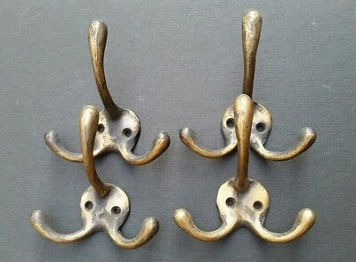 "4 Solid Antique Style Brass Triple Coat Hat Towel Hooks  3 1/4"" x 3""  #C2"