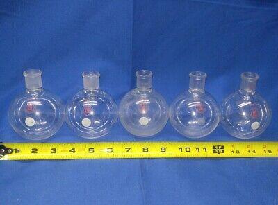 Lot Of 5 250 Ml Lab Glass Boiling Flask Vintage Lab Equipment Bunsen Burner