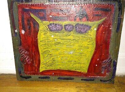 Vintage abstract mixed media oil painting mid century owl ? Artist Christensen