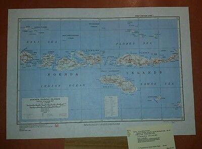 1943 Printed 1955 US Army Special Strategic Map Soenda (Sunda) Islands AMS 9101